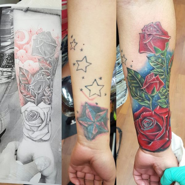 coverup_stars_roses_ed_tattoo_idea